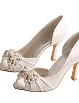 Damen-Sandalen-Hochzeit / Party & Festivität-Stretch - Satin-Stöckelabsatz-Absätze / Zehenfrei-Lila / Elfenbein / Weiß