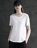 Rizhuo Women's Casual/Daily Simple Summer T-shirtSolid Round Neck Short Sleeve White Cotton Medium