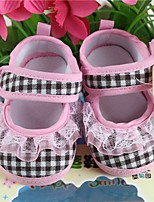 Girl's Boat Shoes Spring Fall Cotton Outdoor Dress Flat Heel Plaid Blue Pink Walking