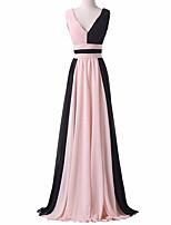 포멀 이브닝 드레스 A-라인 V-넥 바닥 길이 쉬폰 와 주름