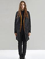 rizhuo Frauen Ausgehen / casual / täglich einfache jacketssolid V-Ausschnitt Langarm Frühling / schwarz Nylon Medium fallen