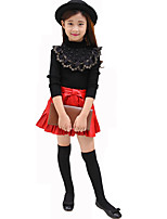 Girl's Casual/Daily Solid BlouseCotton Fall Black / White
