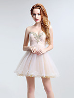 Cocktail Party Dress A-line Sweetheart Short / Mini Tulle with Appliques / Crystal Detailing