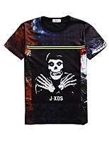 New Fashion Men  Human Skeleton  Crew Neck Short Sleeve Men 3d T-shirt