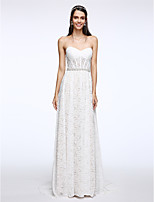 Lanting Bride® Sheath / Column Wedding Dress Sweep / Brush Train Sweetheart Lace with Crystal / Lace