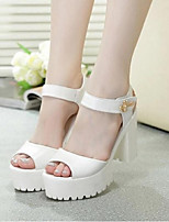 Women's Sandals Summer Comfort PU Casual Chunky Heel Magic Tape White / Silver Others