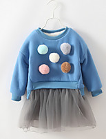 Girl's Casual/Daily Embroidered DressCotton Winter Blue
