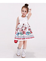Girl's Casual/Daily Solid DressCotton / Rayon Spring / Fall Multi-color / White