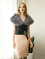 Women's Going out / Casual/Daily / Formal Simple / Street chic Fur Vest Solid Notch Lapel Sleeveless Winter Faux Fur