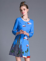 AUFOLI Autumn Women Plus Size Fashion Vintage Bead Print 3/4 Sleeve A Line Dress