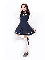 Costumes Uniformes Halloween / Fête d'Octobre Bleu Couleur Pleine Térylène Robe / Plus d'accessoires
