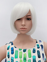 Fashion Short Straight Wig White Color Synthetic Cosplay African American Wig