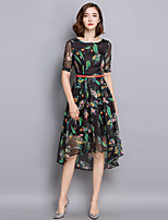 Women's Casual/Daily Sophisticated Sheath Dress,Floral Round Neck Asymmetrical Short Sleeve Black Rayon Summer