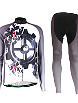 Sports Cycling Jersey with Tights Men's Long Sleeve BikeBreathable / Thermal / Warm / Wearable / Compression / Lightweight Materials / 3D