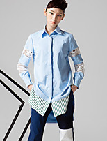 ROOM404  Women's Going out Simple Spring ShirtSolid Shirt Collar Long Sleeve Blue Polyester Opaque