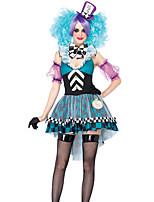 Costumes Uniforms Halloween Sky Blue Patchwork Terylene Dress / More Accessories
