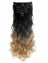 горячий 130g волнистые фигурные зажим в выдвижении 7pcs / набор расширений де Cheveux ломбера волосы черного коричневого до карамельного