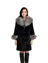 Women's Plus Size / Casual/Daily Simple Fur CoatSolid Notch Lapel Long Sleeve Winter Black Faux Fur /