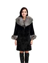 Женский На каждый день / Большие размеры Однотонный Пальто с мехом Лацкан с тупым углом,Простое Зима Черный Длинный рукав,Искусственный