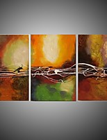 3 Panels Modern Art Canvas Framed Design Line Work Handmade Oil Painting