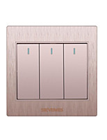 trois doubles commande ouverte interrupteur mural d'or 3d