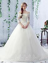 Balklänning Brudklänning Kapellsläp Båt Spets / Tyll med Pärldekorerad / Spets
