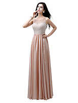 Formal Evening Dress Sheath / Column Bateau Floor-length Chiffon / Tulle with Draping / Pearl Detailing
