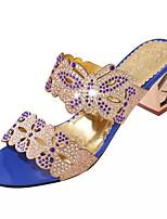 Черный / Синий / Тёмно-синий-Женский-Для праздника-Полиуретан-На толстом каблуке-Удобная обувь-Сандалии