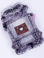 Faux Fur Demin Warm Cozy Jackets Winter Pet Coat for Dogs and Cats