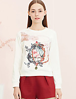 I'HAPPY Women's Casual/Daily Cute Spring / Fall T-shirtFloral Round Neck Long Sleeve White Polyester / Spandex Opaque