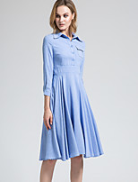 BORME Women's Shirt Collar 3/4 Length Sleeve Midi Dress-W031