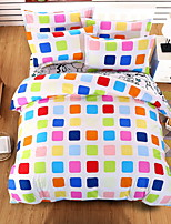 Bedtoppings Comforter Duvet Quilt Cover 4pcs Set Queen Size Flat Sheet Pillowcase Colorful Cheque Pattern Prints Microfiber