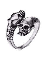 Men's Cuff Ring Stainless Steel High Polished Punk Style Daily Party Hallowwmas Casual(White)(1Pc)
