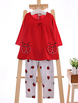 Girl's Casual/Daily Jacquard Clothing SetCotton Spring / Fall Red