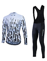 Fastcute® Cycling Jersey with Bib Tights Men's Long Sleeve BikeBreathable / Comfortable / Lightweight Materials / 3D Pad / Back Pocket /