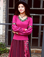 notre histoire sortir chinoiserie printemps / automne t-shirtembroidered sweetheart manches longues en coton rose / moyen spandex