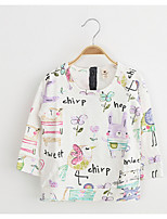 Girl's Casual/Daily Print TeeCotton / Rayon Spring / Fall White