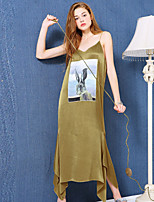 LIANGSANSHI Women's Going out Street chic Loose Dress,Animal Print V Neck Maxi Sleeveless Gold Polyester Summer