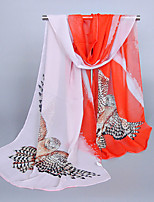 Women's Chiffon Owl Print Scarf Orange/Royal Blue/Fuchsia