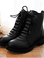 Women's Boots Spring Fall Winter Riding Boots Cowhide Dress Cone Heel Lace-up Black Other