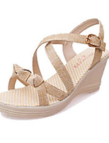 Women's Sandals Summer Sandals PU Casual Wedge Heel Buckle Green / Beige Others
