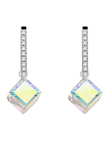 Earring Square Drop Earrings Jewelry Women Fashion Wedding / Party Gold Plated 1 pair Silver