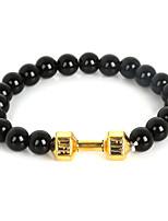 Beadia 1Pc Live Lift Dumbbell Bracelet 8mm Black Glass Beads Strand Bracelet
