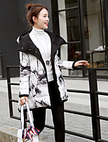Women's Print Black Down CoatSimple Hooded Long Sleeve