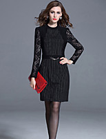Women's Plus Size /Casual /Party Street chic Fashion Sheath Dress Lace Striped Crew Neck Black Polyester Fall /Winter