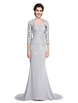 Lanting Bride Trumpet / Mermaid Mother of the Bride Dress - Elegant Sweep / Brush Train 3/4 Length Sleeve Chiffon / Lace