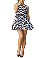 Women's Going out / Party/Cocktail / Club Sexy / Simple Loose DressStriped Round Neck Mini Sleeveless White / Black