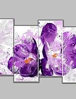 Ручная роспись Цветочные мотивы/ботанический Картины маслом,Пастораль 4 панели Холст Hang-роспись маслом For Украшение дома