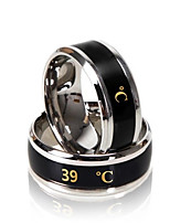 Unisex Ring Temperature Display Stainless Steel Couple Women Men Finger Ring