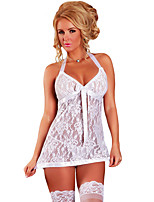 Women's White Honeymoon Satin Lace Babydoll Set
